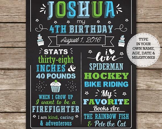 Boy Birthday Chalkboard Poster - Boy 1st Birthday Birthday Chalkboard - Photo Prop - Download & Personalize in Adobe Reader at home