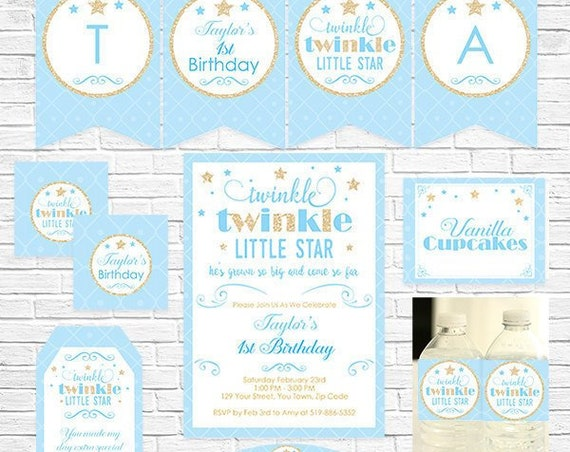 Twinkle Twinkle Birthday Invitation and Decoration - Blue Gold Boy Twinkle Twinkle Star - Instant Download & Personalize in Adobe Reader