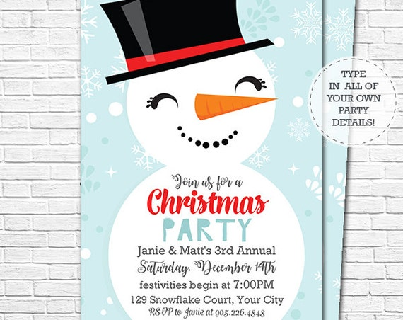 Christmas Snowman Invitation - Christmas Invitation - Snowman Christmas Party Invitation - Download & Edit in Adobe Reader at home