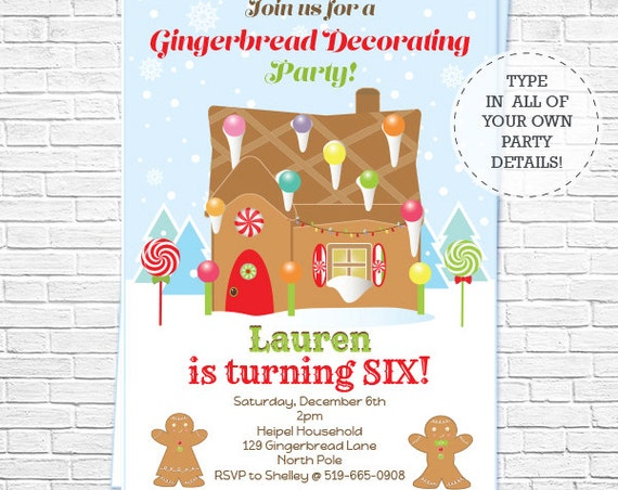 Gingerbread Decorating Party Invitation - Christmas Party Invitation - Christmas Birthday Invitation- Download & Personalize in Adobe Reader