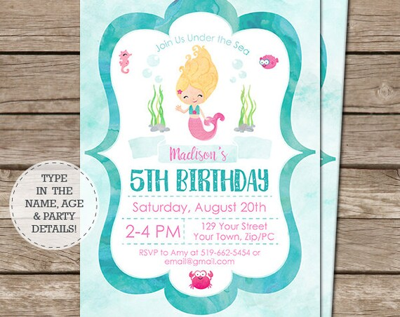 Watercolor Mermaid Invitation - Blonde Hair Mermaid Birthday Invitation - Mermaid Party - Instant Download & Personalize in Adobe Reader