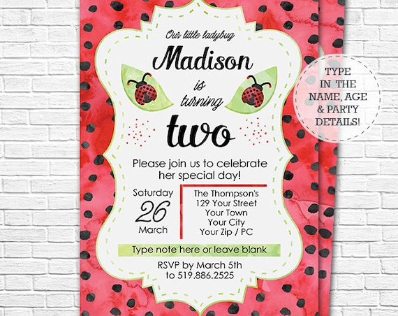 Ladybug Leaf Birthday Invitation - Watercolor Ladybug Invitation - Ladybug Birthday Invitation - Download & Personalize in Adobe Reader