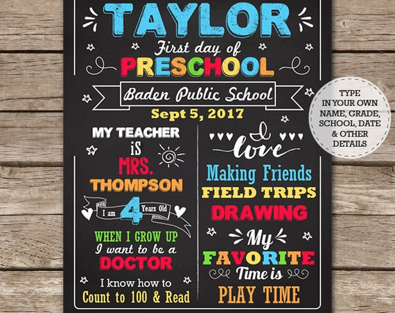 First Day of School Chalkboard - Last Day of School Chalkboard - Preschool Chalkboard - Graduation - Download & Edit in Adobe Reader at home