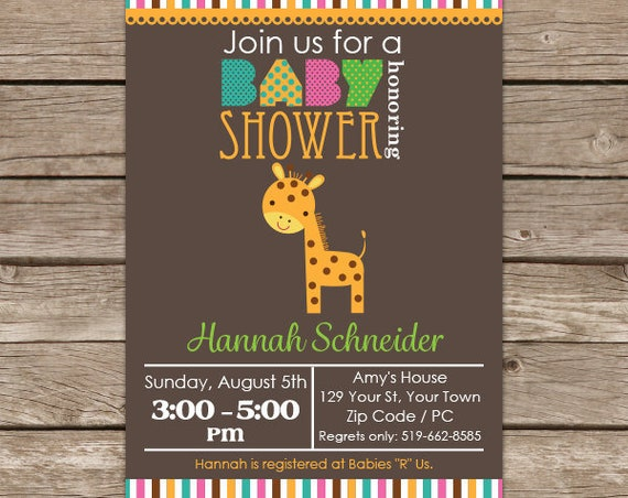 Giraffe Baby Shower Invitation - Jungle Baby Shower Invitation - Giraffe Invitation - Instant Download & Edit with Adobe Reader