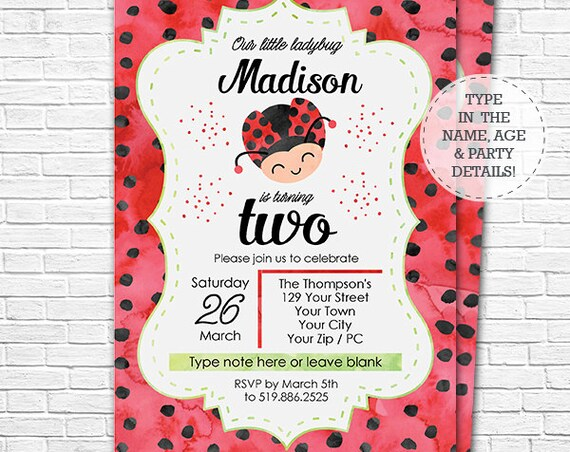 Ladybug Birthday Invitation - Ladybug Invitation - Watercolor Ladybug Invitation - Ladybug Party - Download & Personalize in Adobe Reader