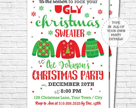 Ugly Christmas Sweater Party Invitation - Christmas Party Invitation - Holiday Party Invitation - Download & Edit in Adobe Reader at home