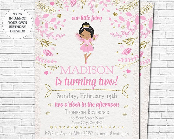 Fairy Birthday Invitation - African American Fairy Princess Invitation - Fairy Invitation - Instant Download & Personalize in Adobe Reader