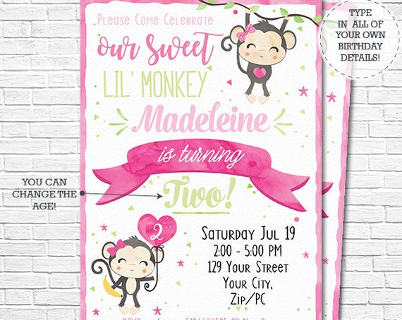 Our Little Monkey Invitation - Pink Watercolor Monkey Birthday Party Invitation - Girl 1st Birthday - Download & Personalize in Adobe Reader