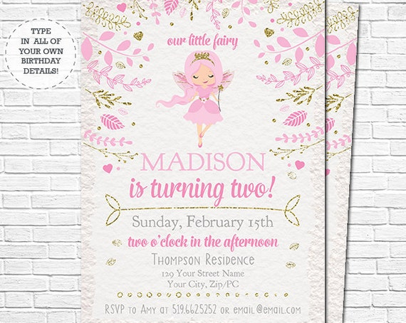 Fairy Birthday Invitation - Fairy Princess Invitation - Pink Fairy Invitation - Instant Download & Personalize in Adobe Reader at home