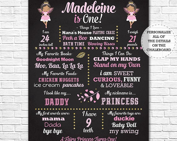 African American Fairy Princess Chalkboard Poster - Fairy 1st Birthday Chalkboard - Instant Download & Personalize in Adobe Reader at home