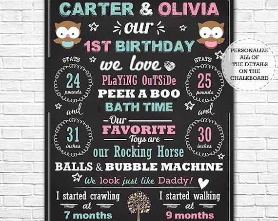 Owl Twin Boy Girl 1st Birthday Chalkboard - Twins Birthday Sign - Fraternal Twins Chalkboard Sign - Download & Personalize in Adobe Reader