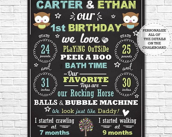Owl Twin Boys 1st Birthday Chalkboard Poster - Twins Birthday Chalkboard - Boy Twins Chalkboard - Download & Personalize in Adobe Reader