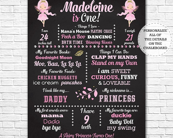 Fairy Princess Chalkboard Poster - Fairy 1st Birthday Chalkboard - Fairy Chalkboard - Instant Download & Edit in Adobe Reader at home