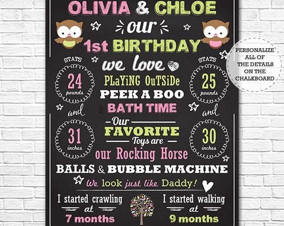 Owl Twin Girls 1st Birthday Chalkboard Poster - Twins Birthday Chalkboard - Girl Twins Chalkboard - Download & Personalize in Adobe Reader