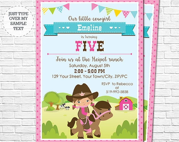 Brown Haired Cowgirl Birthday Party Invitation - Girl Western Birthday Invitation - Barnyard Party - Download & Personalize in Adobe Reader