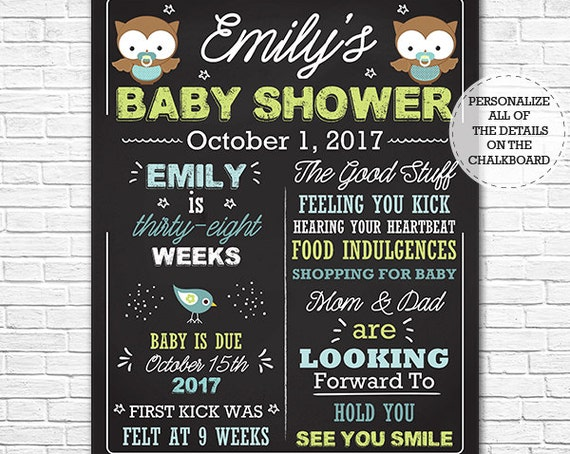 Boy Owl Baby Shower Chalkboard - Blue Owl Baby Shower Sign - Expecting Mom Chalkboard - Download & Personalize in Adobe Reader at home