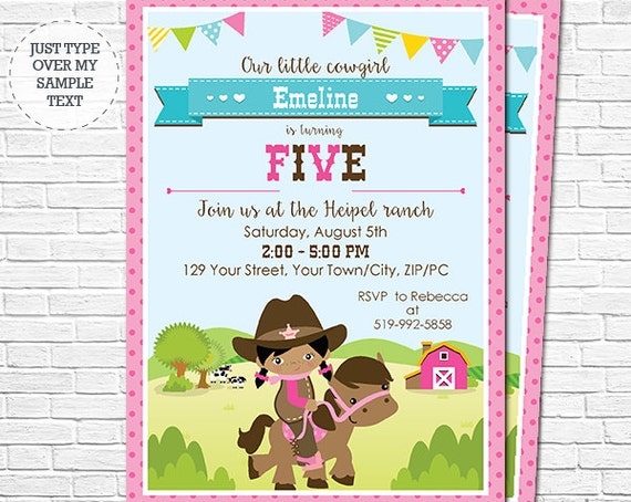 Cowgirl Birthday Party Invitation - Girl Western Birthday Invitation - Barnyard Birthday Invitation - Download & Personalize in Adobe Reader