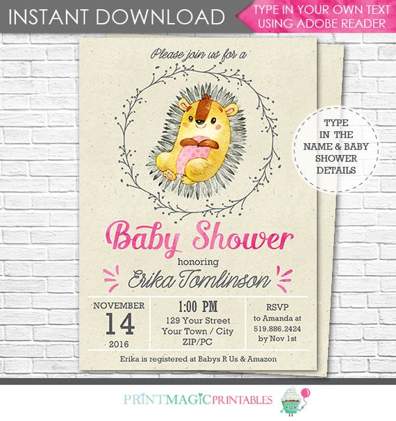 Hedgehog Baby Shower Invitation - Woodland Baby Shower Invitation- Cute Hedgehog Invitation - Instant Download & Personalize in Adobe Reader