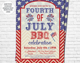 July 4th BBQ Invitation - Independence Day Invitation - July 4th Barbecue Invitation - Instantly Download & Personalize in Adobe Reader