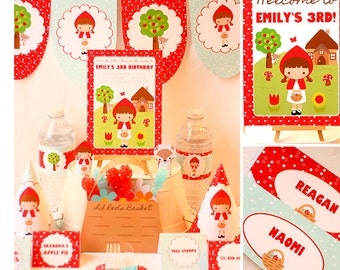 Red Riding Hood Party Invitations & Decorations - Red Riding Hood Birthday - Printable Party Kit - Download and Personalize in Adobe Reader