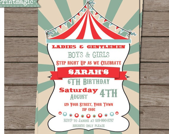 Vintage Circus Birthday Party Invitation - Circus Birthday - Circus Invitation - Instant Download - Personalize at home in Adobe Reader