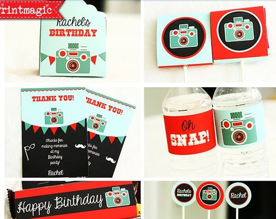 Photo Booth Birthday Invitation & Decorations - Photo Booth Props - End of Year Party - Photo Prop Party - Download and edit in Adobe Reader