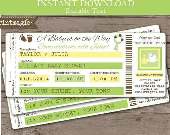Airline Ticket Baby Shower Invitation- Airline Ticket Invitation- Gender Neutral Baby Shower- Download & Personalize at home in Adobe Reader