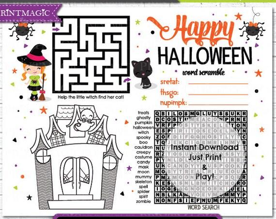 Halloween Printable Activity - Kids Halloween Game - Halloween Activity - Children's Activity for Halloween - Instant Download