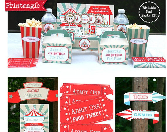 Vintage Circus Invitation & Decorations - Carnival Party - Circus Birthday Party - Instant Download and Personalize in Adobe Reader at home