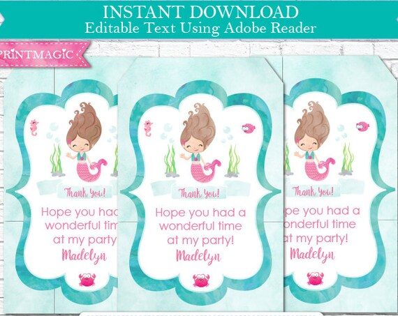 Mermaid Birthday Thank You Tags - Brown Hair Mermaid Thank You - Mermaid Thank You Tag - Instant Download & Personalize in Adobe Reader