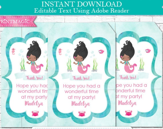 Mermaid Birthday Thank You Tag - Mermaid Thank You - African American Mermaid - Mermaid Gift Tag - Download & Personalize in Adobe Reader