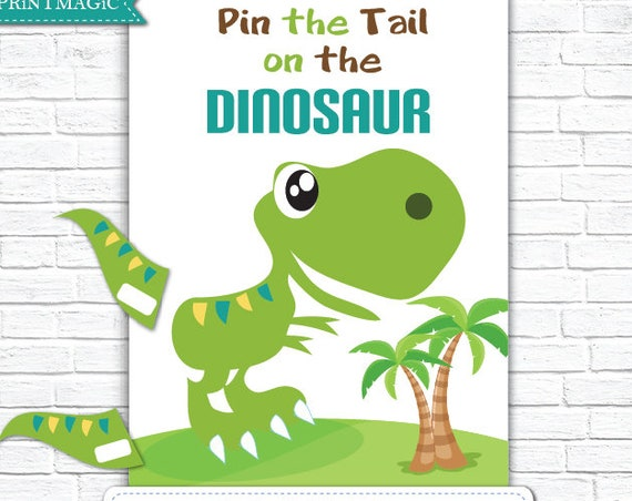 Pin the Tail on the Dinosaur Printable Birthday Party Game - Dinosaur Party - Dinosaur Party Game - Dinosaur Birthday - Instant Download