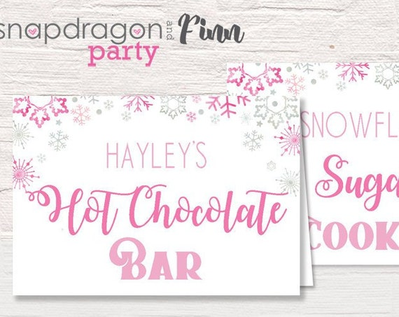 Pink Winter Wonderland Food Labels - Printable Winter Wonderland Birthday Tent Cards - Download & Personalize Using Adobe Reader