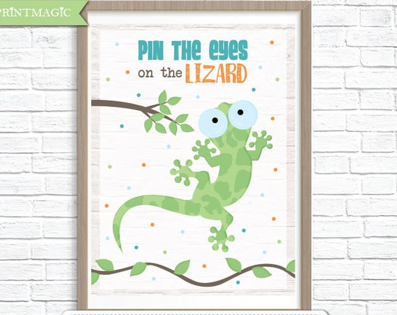 Reptile Party Printable Birthday Party Game - 3 Poster Sizes - Pin the Eyes on the Lizard Party Game - Reptile Party Game - Instant Download