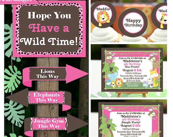 Pink Jungle Party Invitations & Decorations -  Pink Safari Birthday Party - Pink Zoo Birthday Party - Download Now and Edit in Adobe Reader