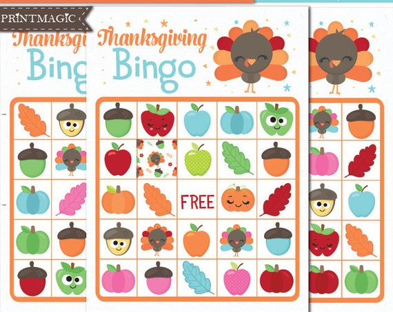 Thanksgiving Bingo Printable Party Game - Thanksgiving Party Game - Fall Bingo - Printable PDF - Instant Download