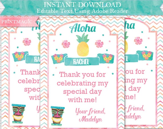 Luau Birthday Thank You Card - Printable Luau Thank You - Hula Thank You - Luau Gift Tag - Instant Download & Personalize in Adobe Reader