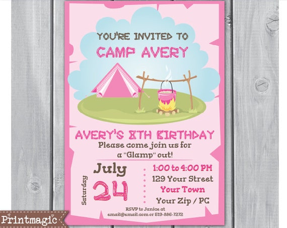 Pink Glamping Birthday Party Invitation - Glaming Invitation - Camping Invitation - Download & Personalize at home in Adobe Reader