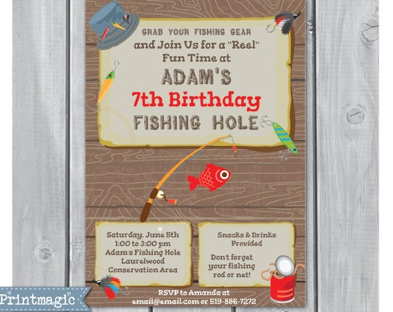 Fishing Birthday Party Invitation - Fishing Invitation - Fishing Party Invitation - Download & Personalize at home in Adobe Reader
