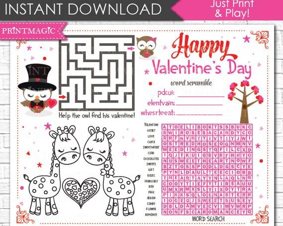 Valentine's Day Printable Activity - Kids Valentine Game - Valentine's Day Activity - Children's Activity for Valentine - Instant Download