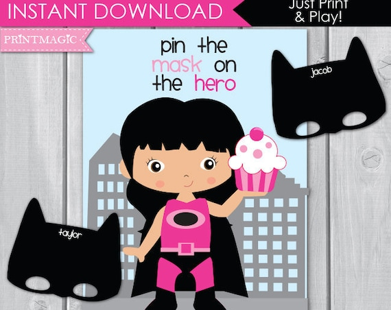 Pin the Mask On the Pink Superhero Printable Birthday Party Game - Girl Superhero Party Game - Pink Superhero Game - Instant Download