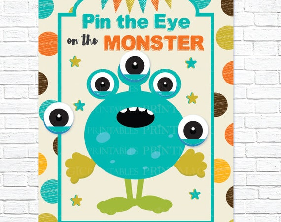 Pin the Eye on the Monster Printable Party Game - 3 Poster Sizes - Monster Birthday Party - Monster Party - Monster Game - Instant Download