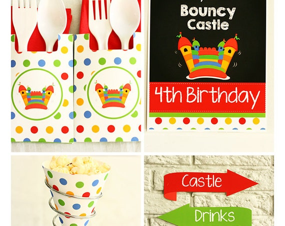Bounce House Birthday Invitation & Decorations - Bouncy Castle Birthday - Bounce House Invitation - Download and Personalize in Adobe Reader