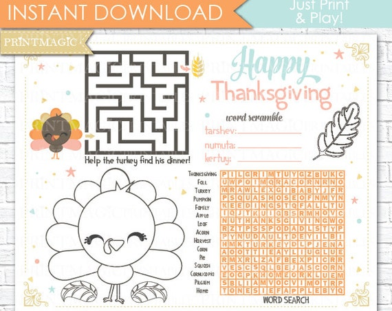Thanksgiving Printable Activity - Kids Thanksgiving Game - Thanksgiving Activity - Children's Activity for Thanksgiving - Instant Download