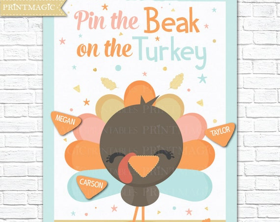 Pin the Beak on the Turkey Printable Party Game - 3 Poster Sizes - Kids Thanksgiving Game - Thanksgiving Activity - Instant Download