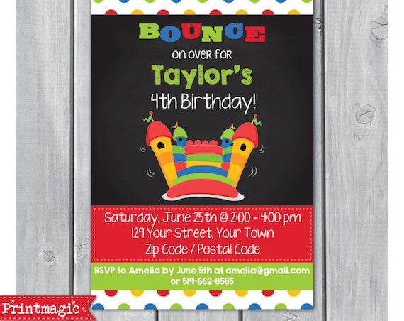 Bounce House Birthday Party Invitation - Bounce House Invitation - Bouncy Castle Invitation - Download & Personalize at home in Adobe Reader