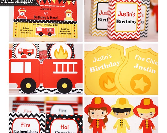 Fireman Birthday Party Invitation & Decorations - Fireman Invitation - Fire Truck Birthday - Download and Personalize in Adobe Reader