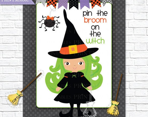 Pin the Broom on the Witch Printable Party Game - 3 Sizes Included - Halloween Game - Halloween Children's Game - Halloween Printables