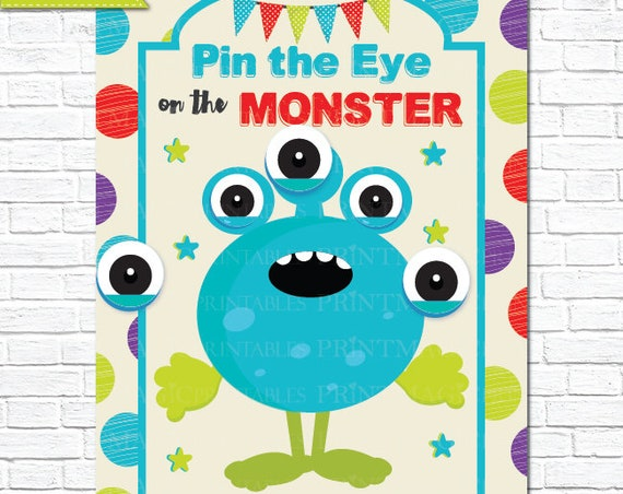 Red & Blue Pin the Eye on the Monster Printable Party Game - 3 Poster Sizes - Monster Birthday Party - Monster Game - Instant Download