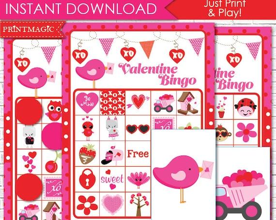 Valentine Bingo Printable Game - Valentine Game - 20 Bingo Cards - Instant Download Printable PDF - Valentine's Day Class Activity